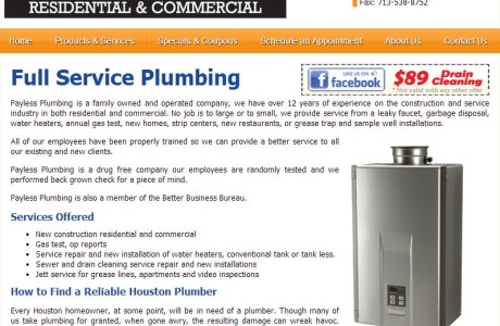 Payless Plumbing - Private Local Business Company Webpage